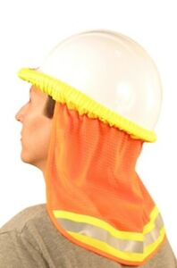 12 Safety Hard Hat Neck Shield Helmet Sun Shade Hi Vis Reflective Stripe Orange