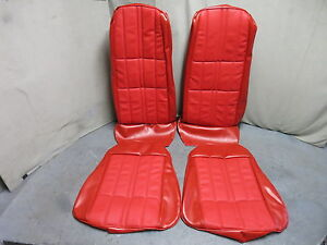 1971 Mustang Deluxe Front Bucket Seat Upholstery Reproduction Vermillion Red