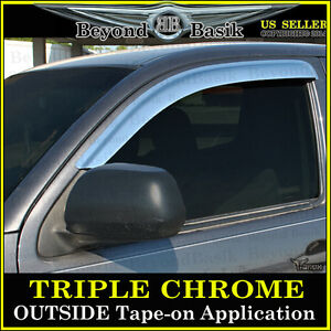 For 2005 2015 Toyota Tacoma Front 2pc Chrome Door Vent Visors Window Rain Guards
