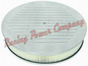 Polished Aluminum 14 X 3 Round Air Cleaner Set Ball Milled Paper Flat Base