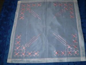 Vintage Tulle Tablecloth Hand Embroidered Pink Silk
