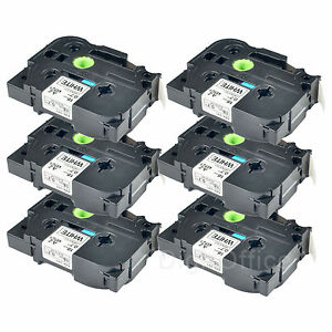 6pk 24mm 1 Tz 251 Tze251 Black On White Label Tape For Brother P touch Pt p700
