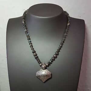 19th C Indian Silver Moon Stone Beads Necklace Hand Crafted Silver Pendant