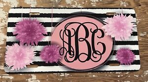 Monogram License Plate Pink Flowers Stripes Personalized Car Tag New