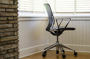 Vitra Meda Office Chair Black Leather Netweave Polished Aluminum Castors