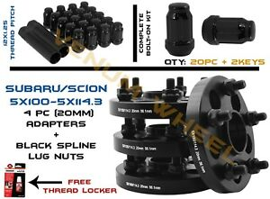 Full Set Of Conversion Adapters 5x100 5x114 3 20mm 20 Black Spline Lug Nuts