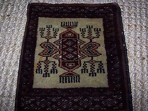 Vintage Mini Wool Tribal Ethnic Throw Table Persia Rug 11 X 15 Burgundy Multi