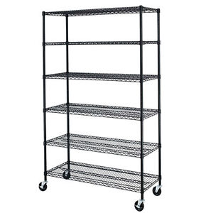 Black 72 x48 x18 Wire Metal Shelving Rack 6 Tier Adjustable Commercial Shelf 86