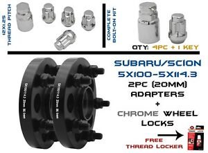 2pc 5x100 Converts To 5x114 3 20mm Wheel Spacer W Chrome Wheel Locks 12x1 25