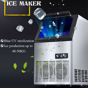 40 50kg 24h Commercial Auto Frozen Ice Maker Ice Cube Making Machine Home 220v