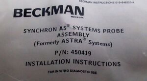 New In Package Beckman 450419 As Systems Pick up Probe Assembly Bm