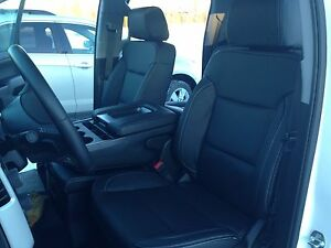 2016 17 Silverado Sierra Double Cab Black Katzkin Leather Seat Covers Solid Rear