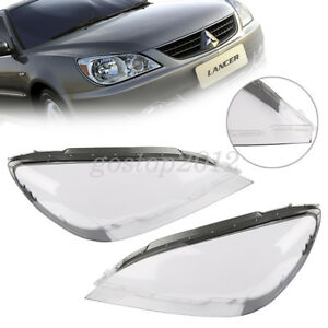 Pair Clear Headlight Headlamp Lens Lamp Cover Trim For Mitsubishi Lancer 04 07