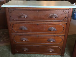 Antique Dresser And Wash Stand Table With Marble Tops