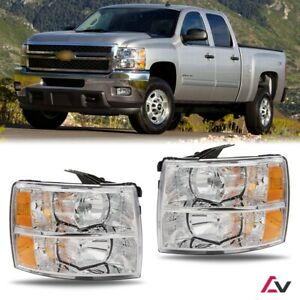 07 13 For Chevy Silverado Clear Lens Headlights Headlamps Chrome Replacement