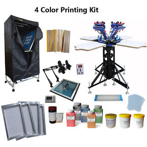 Full Set 4 Color Start Press Kit Screen Printing Press Exposure dryer ink