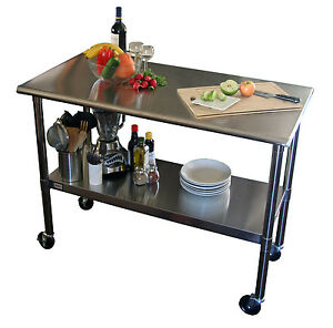 Stainless Steel Table With Wheels Metal Cart Prep Outdoor Bbq Trinity Ecostorage