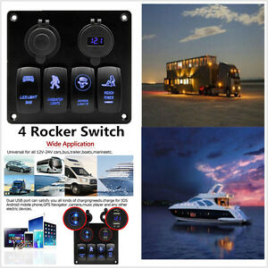 Car 2 Usb Blue Led 4 gang Rocker Switch Panel Voltmeter Cigarette Socket Adapter