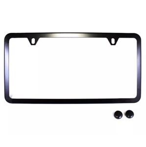 1pc Slim Black Stainless Steel License Plate Frame Screw Caps Slim 2 Hole Bf