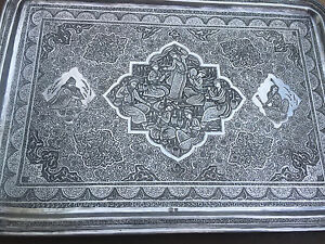 Magnificant Vintage Solid Silver 875 Tray 822grams Marked 84 Persian