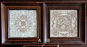 Tile Choice Aesthetic Framed Brown Transferware Flowers N Vase 6 C1890