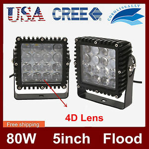 2x 80w Cree Led Work Light Truck Driving Headlamp 4d Opticals Boat Jeep 4wd 5