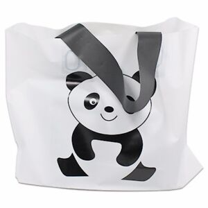 White Plastic Shopping Bag Panda Printed For Wedding Gift Party Merchandise Bags