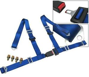 4 Point Racing Seat Belt Harness With Buckle Lock Blue 2 Universal