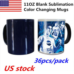Us 36pcs 11oz Blank Sublimation Full Color Changing Mugs magic Cup black glossy