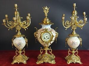 Garniture Clock And Two Chandeliers Porcelain And Bronze Napoleon Iii 19th