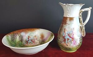 Pitcher And Wash Basin Porcelain Enamel Gallant Scene France 19th Century