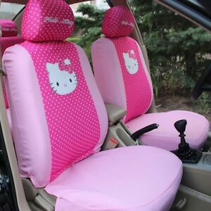2 Front Set Hello Kitty Car Seat Cover Rose Pink Front Interior Accessories