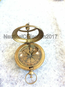 Nautical Solid Brass Push Button Working Compass 2 5 Sundial Compass