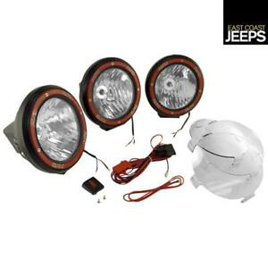 15205 63 Rugged Ridge 7 Inch Round Hid Off Road Fog Light Kit Black Composite H