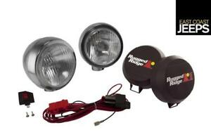 15206 51 Rugged Ridge 6 Inch Round Hid Off Road Fog Light Kit Stainless Steel H