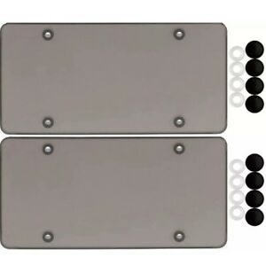 2 Smoke Flat License Plate Cover Bug Shield Tinted Plastic Tag Protector