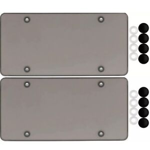 2 Smoke Flat License Plate Cover Bug Shield Tinted Plastic Tag Protector Caps