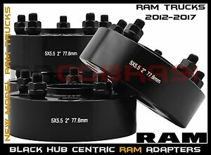 Complete Set Of 2012 2017 Ram 1500 2 Black Hub Centric Wheel Spacers Adapters