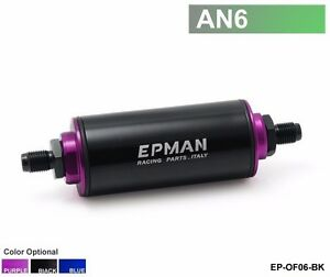 High Flow Performance 100 Micron Fuel Filter Inline Black An6 Stainless Steel Ss