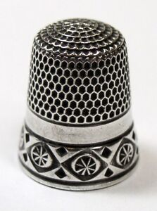Antique Simons Brothers Sterling Silver Child Size Thimble Pinwheel In Diamond