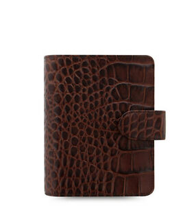 Filofax Pocket Size Classic Croc Organiser Planner Diary Chestnut Leather 026014