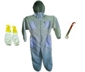 Complete Beekeeping Pack Three Mesh Ventilated Suit gloves hive Tool