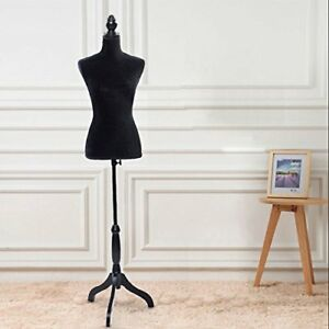 Female Pinnable Mannequin Body Torso Wooden Tripod Base Stand 6 Black