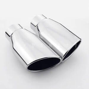 Pair Stainless Steel Oval Exhaust Tips 2 25 Inlet Rolled Angle Cut Out