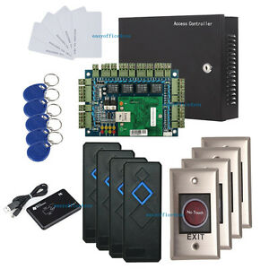 Wiegand 4 Door Access Control Panel Kit Rfid Reader 110v Power Box infrared Exit