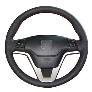 Diy Steering Wheel Cover Black Leather Hand Sewing For Honda Crv Cr V 07 11