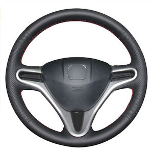 Diy Steering Wheel Cover Black Leather Hand Sewing For Honda Fit 09 13 City Jazz