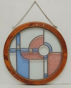 Vtg Round Stained Glass Window Panel Sun Catcher Blue Pink Teak Wood Framed Deco
