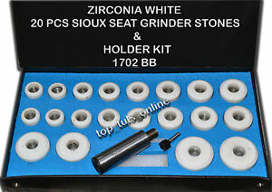 Valve Seat Grinder Stones Zircon White 20 Pcs Holder Kit For Sioux 80 Grit