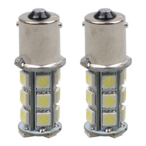 2 X 12v 1156 Ba15s 5050 7503 1141 18smd Led White Car Rv Trailer Light Lamp Bulb